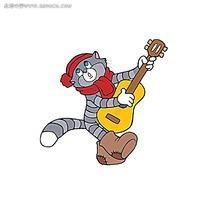 卡通小猫弹吉他