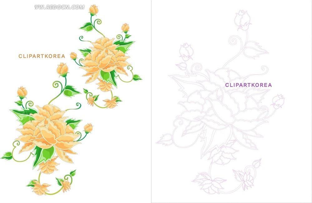 时尚花卉手绘素材矢量图_花纹花边