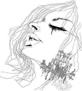 古装美女简笔画手绘
