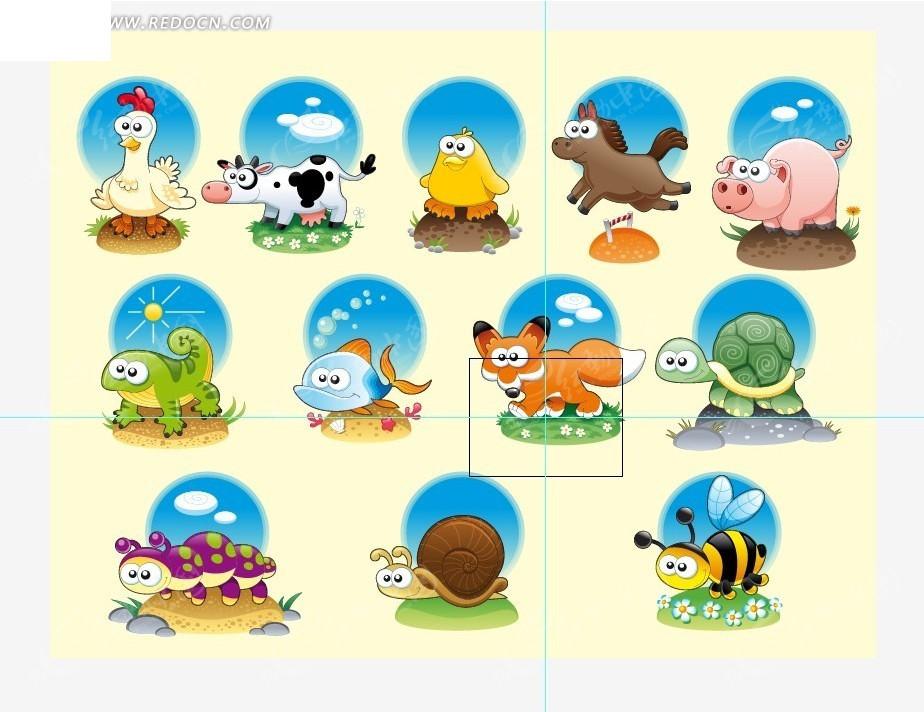 卡通动物贴画素材矢量图