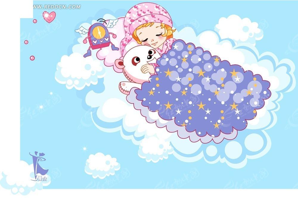 卡通女孩睡觉素材