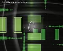 流动的绿色方块动感视频素材