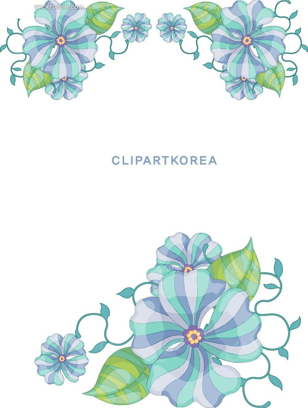 花纹边框 花纹花边 蓝色花朵蜂鸟水彩随笔简笔画