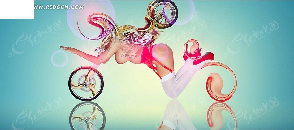 创意女人摩托车设计图片