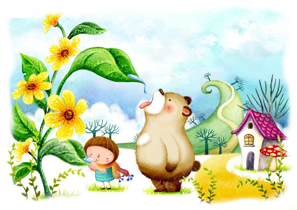 幼儿园卡通喝水图片