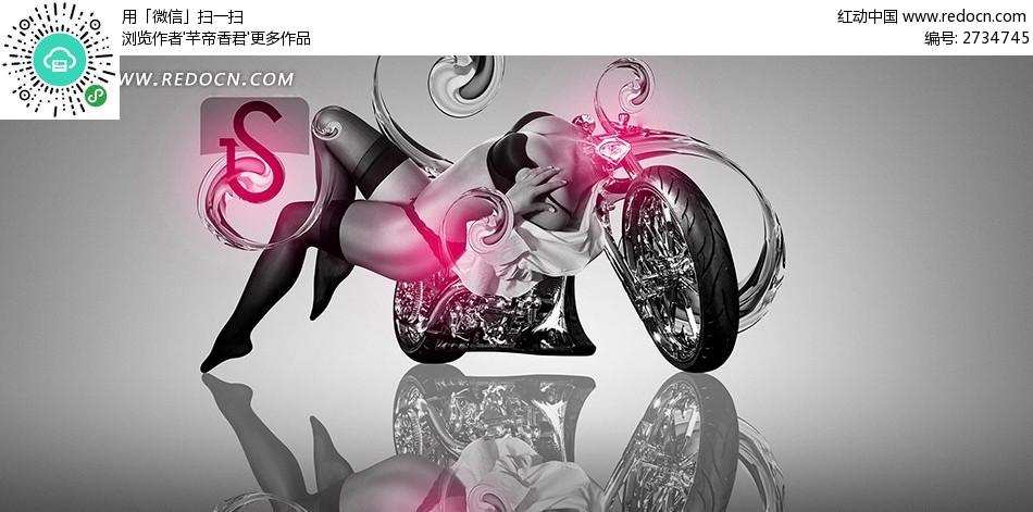 性感美女摩托车创意壁纸