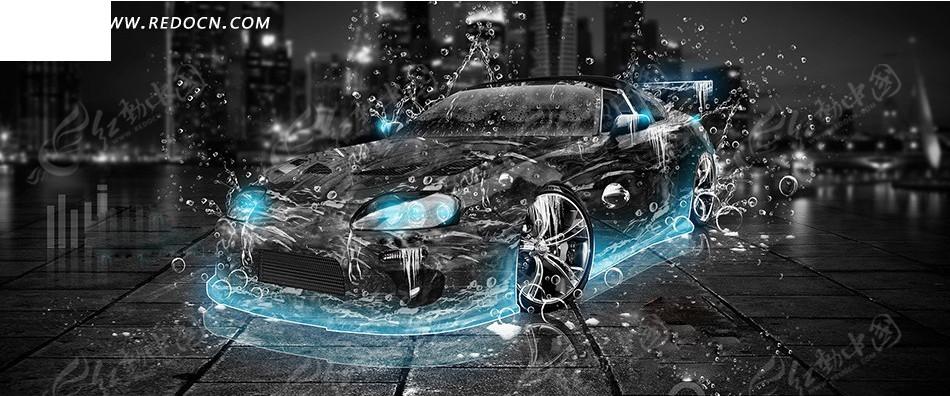 黑色跑车创意海报设计图片
