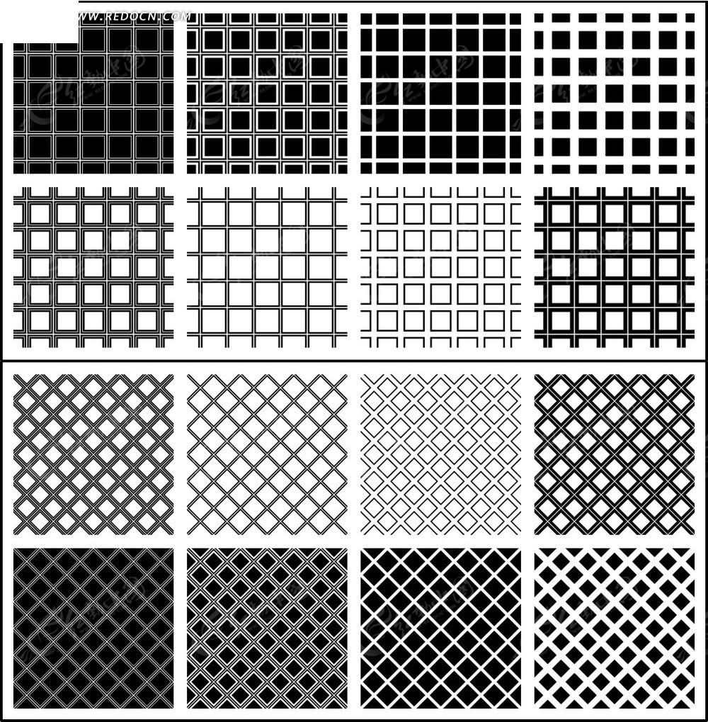 简约黑白色格子纹理素材