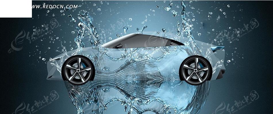 水环绕跑车创意海报图片