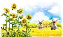 草地大风车和向日葵