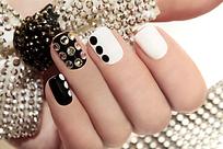 黑白钻石创意美甲