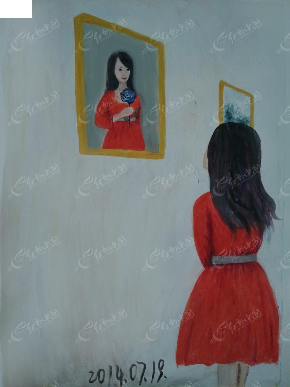手绘女人背影图图片