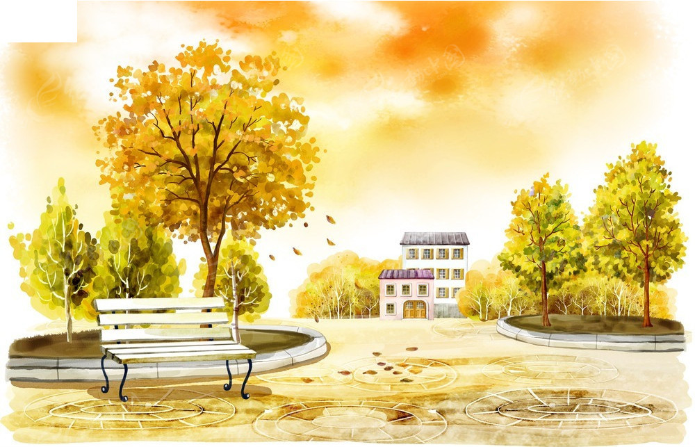 免费素材 psd素材 psd分层素材 风景 街道边上的椅子花坛和房子