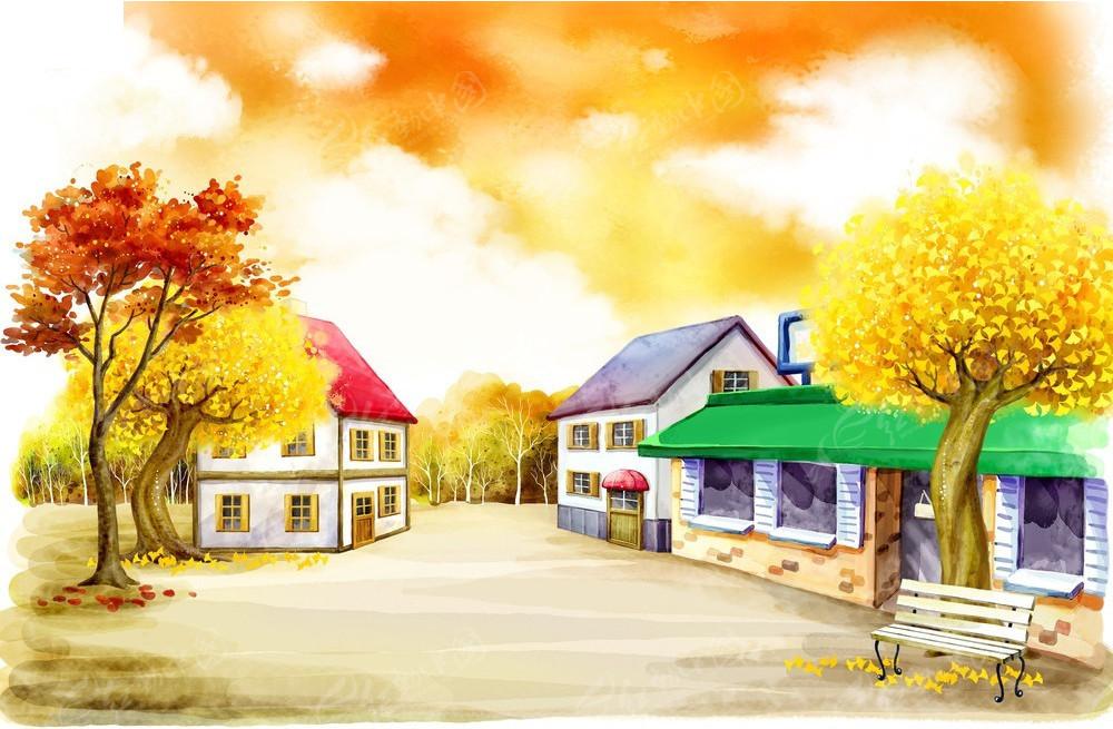 房子 卡通大树简笔画 大树靠房子不足一米