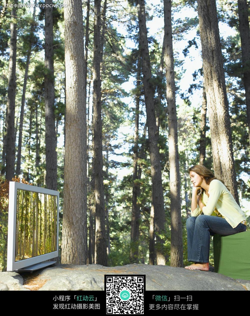 在树林里看电视的美女图片