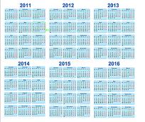 2011至2016年日历年历矢量图模版