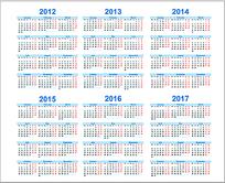 2012至2017年日历矢量图模版图片
