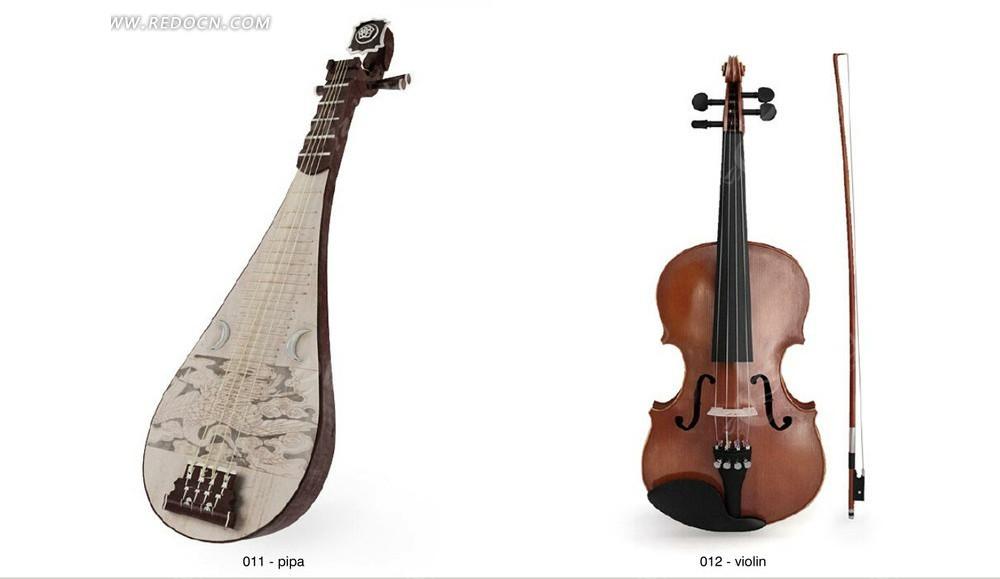 3d效果琵琶小提琴逼真效果图