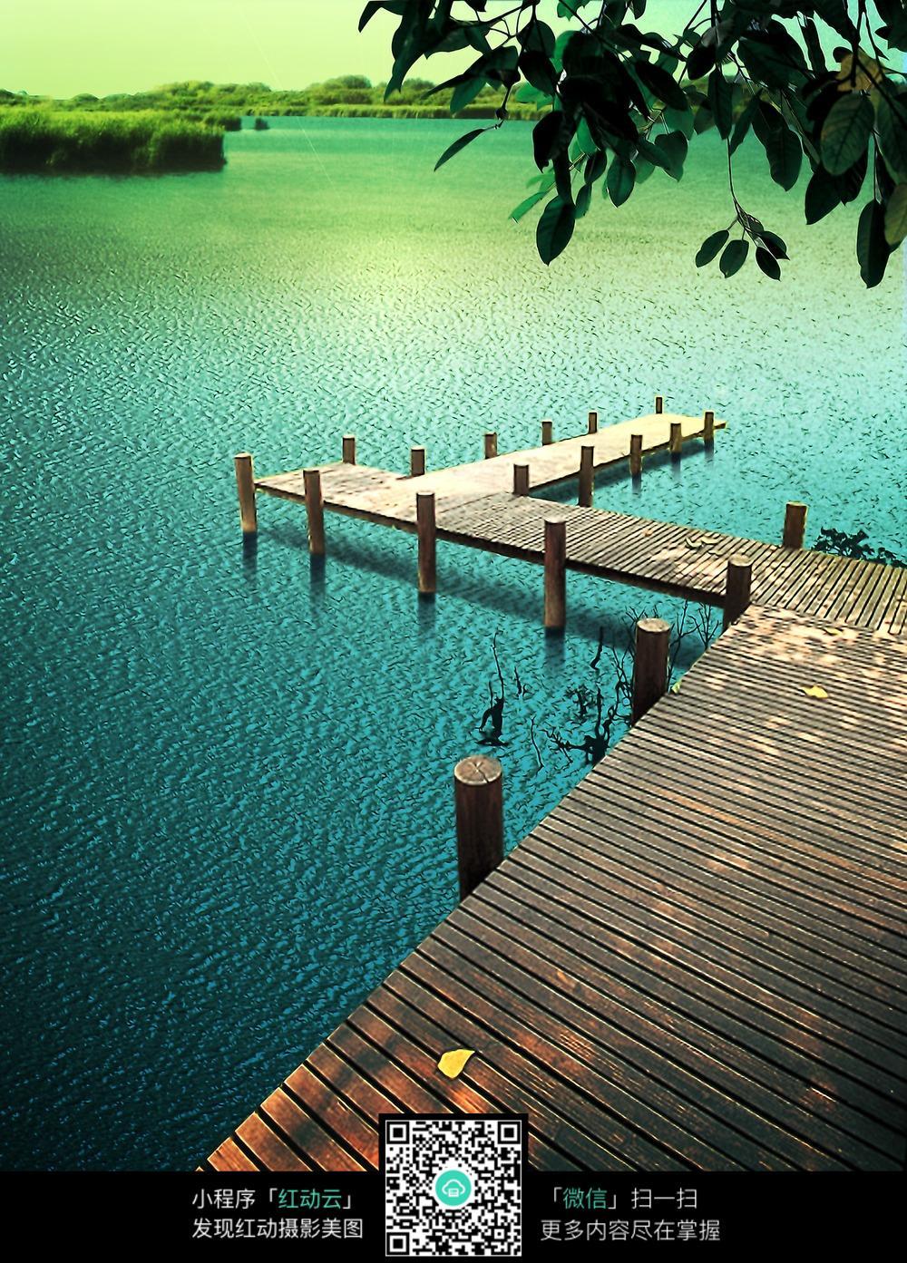 免费素材 图片素材 环境居住 园林景观 园林湖边的木栈道