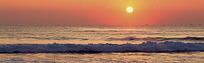 夕阳下的海面淘宝店招背景