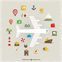 旅行主题元素矢量素材