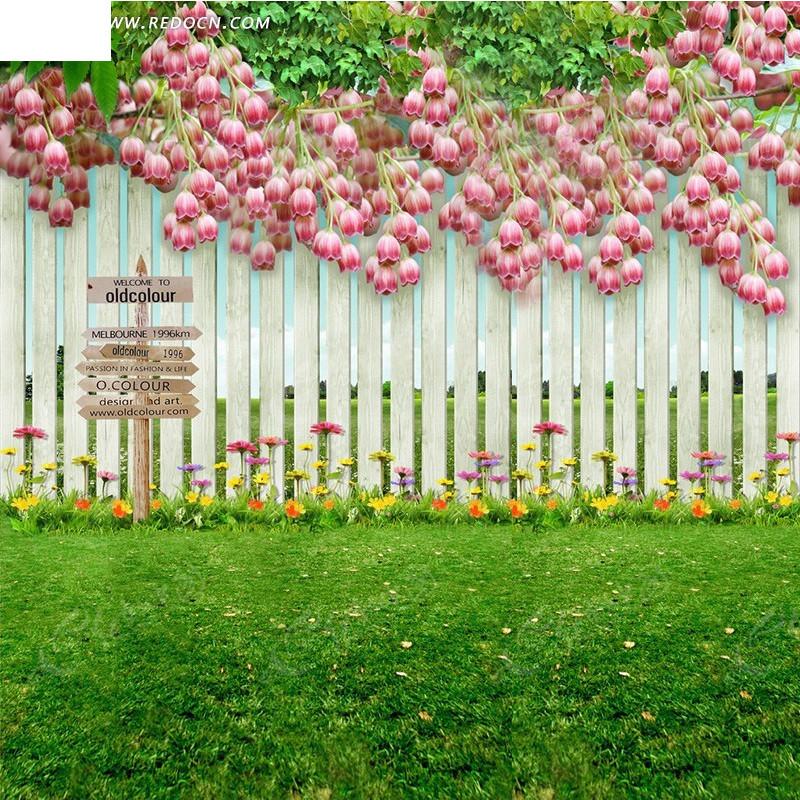 鲜花和木栅栏淘宝主图背景
