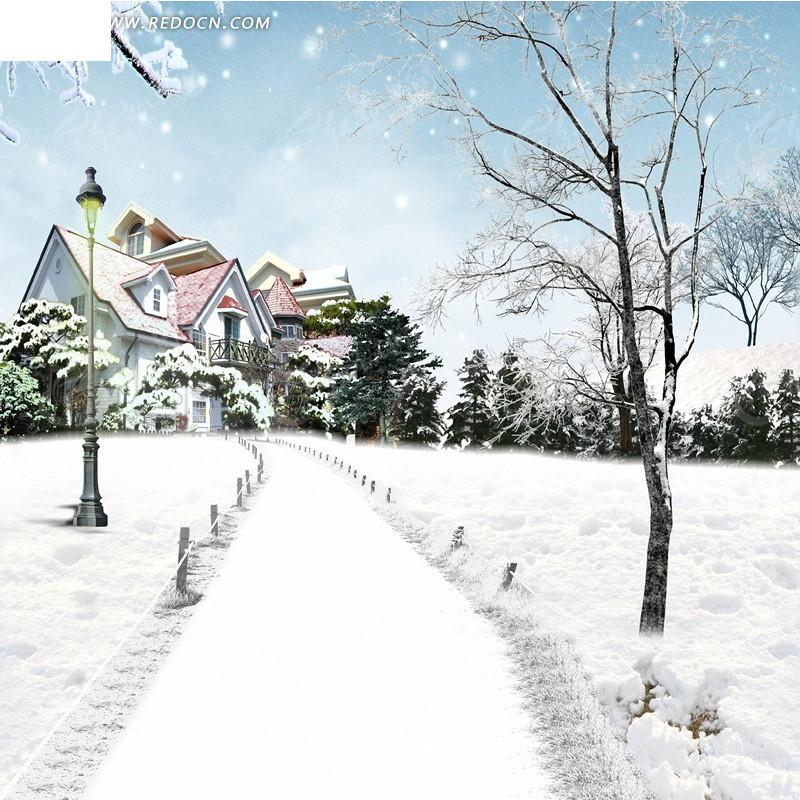 雪中的房子淘宝主图背景