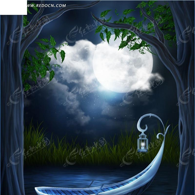 月下的树和小船淘宝主图背景