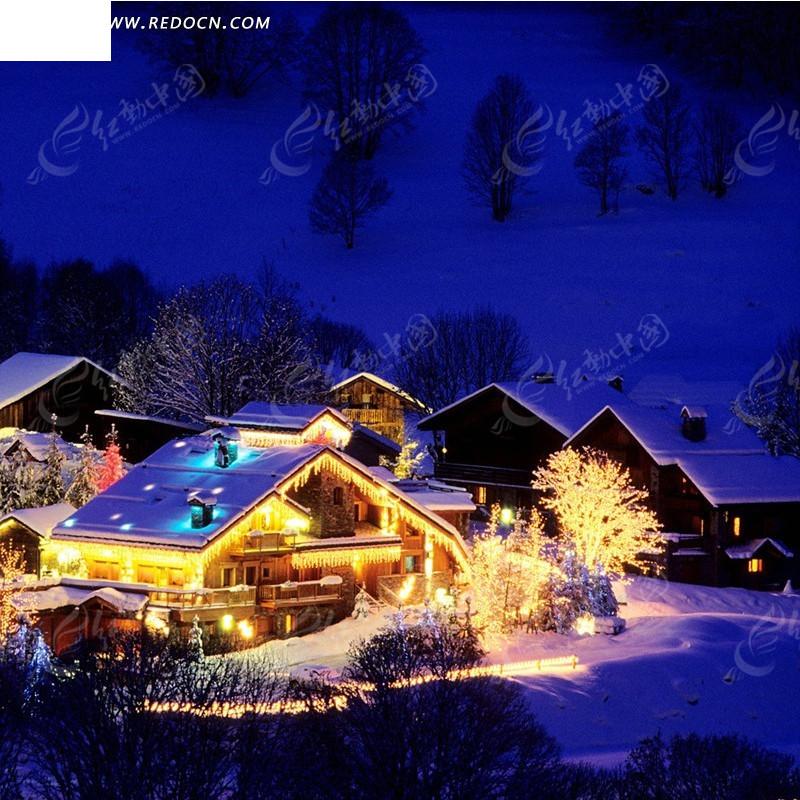冬天夜晚雪景淘宝主图背景-夜晚雪景