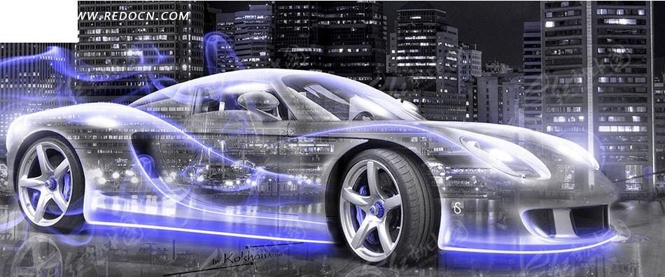 蓝色特效光影汽车淘宝店招背景