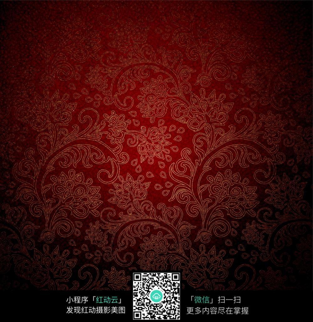 暗红色花纹底纹背景图片