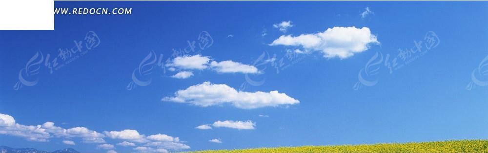 蓝天和白色云朵淘宝店招背景jpg素材免费下载_红动网图片
