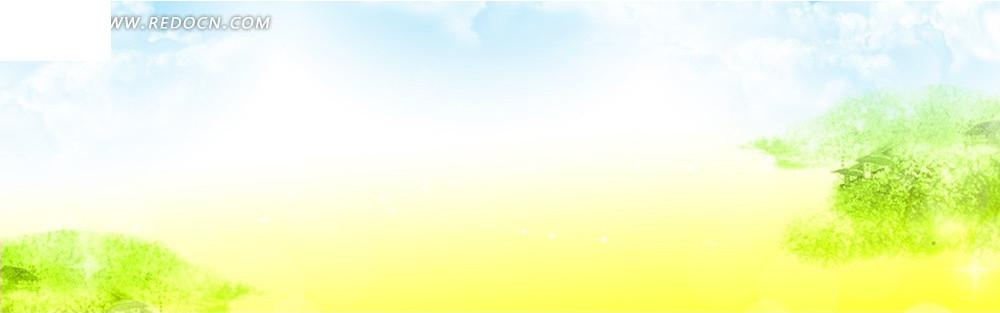 白云和树淘宝店招背景jpg素材免费下载_红动网图片