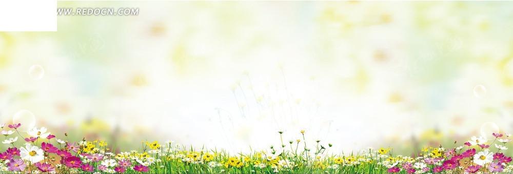 彩色的花海淘宝店招背景jpg素材免费下载_红动网图片