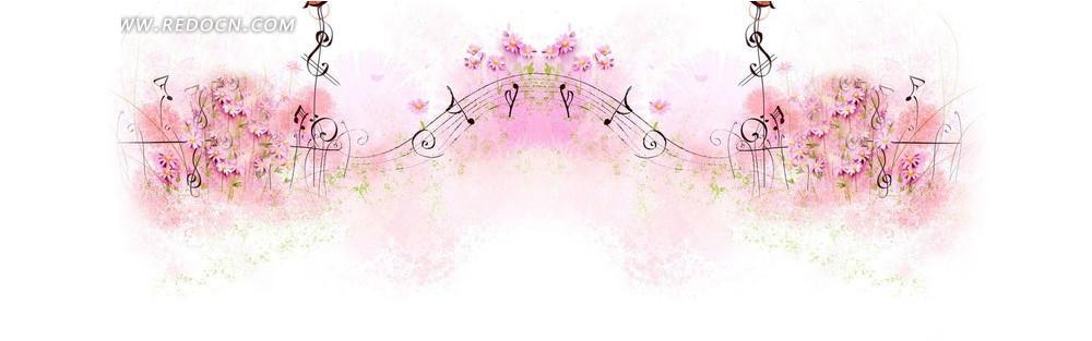 粉红花朵和五线谱淘宝店招背景jpg素材免费下载_红动网