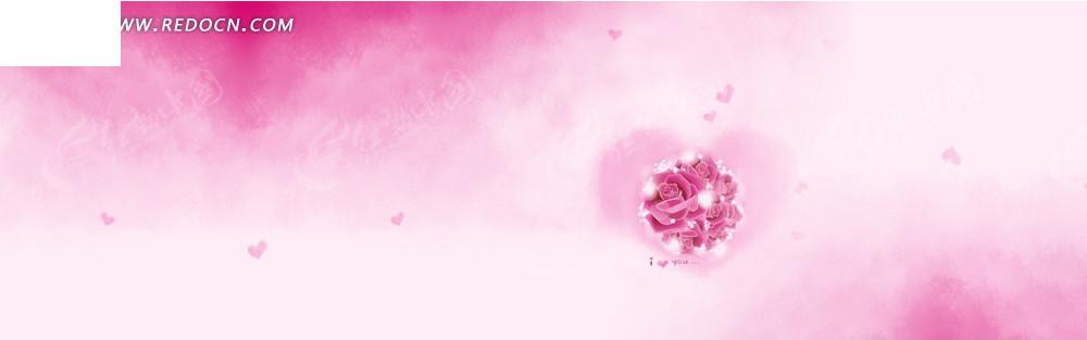 粉色系花朵图案淘宝店招背景jpg素材免费下载_红动网图片
