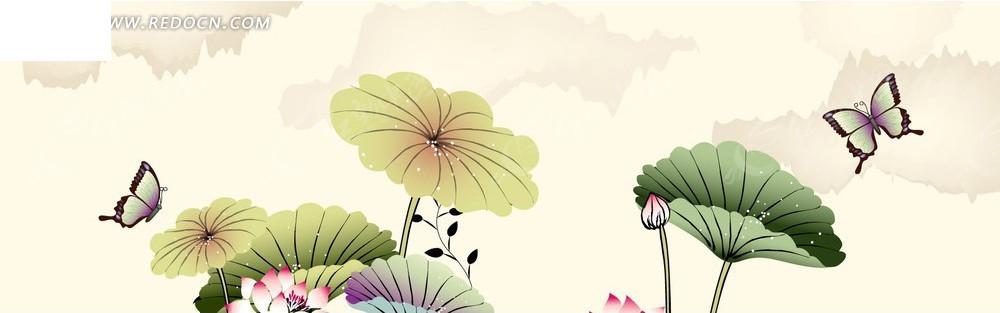 荷花蝴蝶图案淘宝店招背景