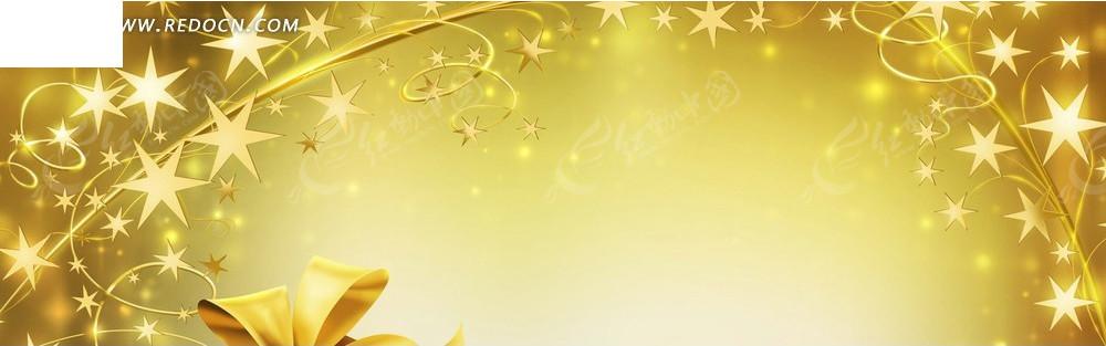 金色花朵和蝴蝶结淘宝店招背景jpg素材免费下载_红动网图片