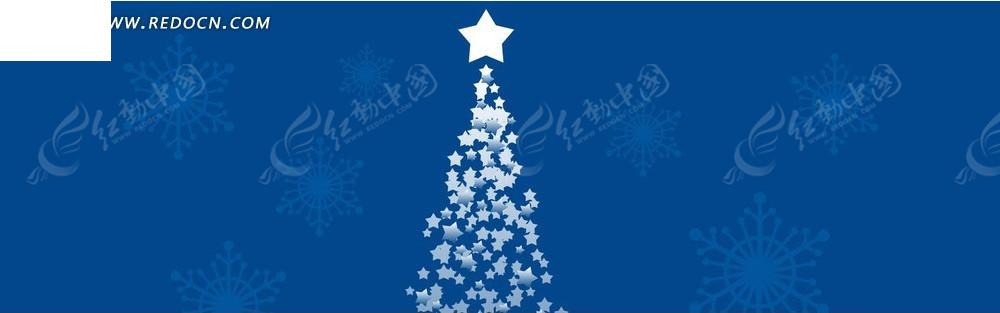 五角星雪花和圣诞树淘宝店招背景jpg素材免费下载_红图片