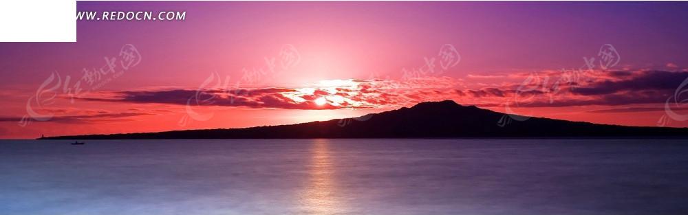 夕阳下的大海淘宝店招背景