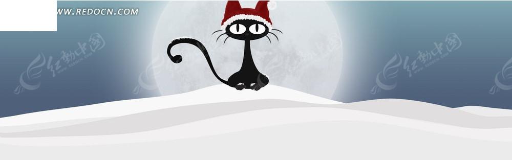 雪地上的猫淘宝店招背景jpg素材免费下载_红动网图片