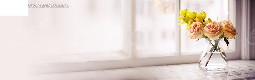窗台上的花朵淘宝店招背景jpg素材免费下载_红动网