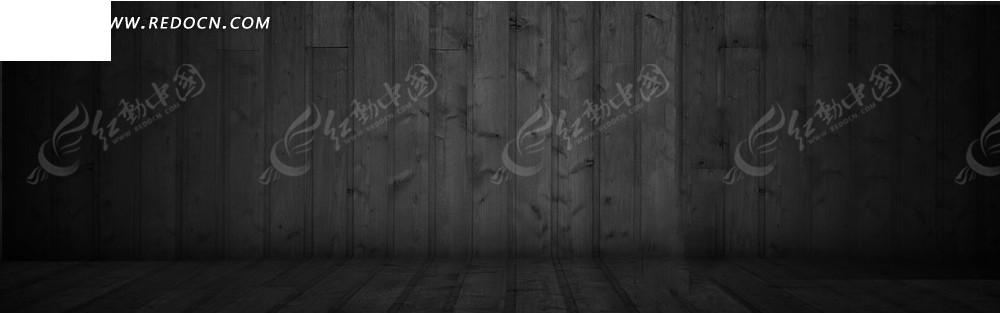 黑色的木板墙和地板淘宝店招背景图片