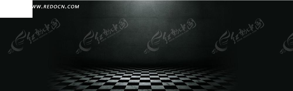 黑色海报背景素材_模板|淘宝素材 淘宝海报|网店广告 黑色墙壁和格子地板淘宝店招背景
