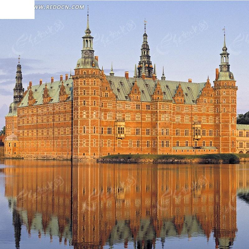 红色的欧式楼房淘宝主图背景