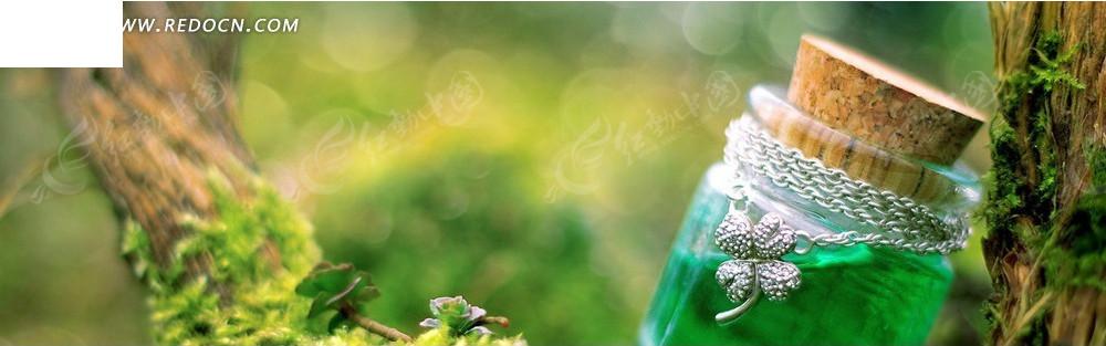 绿色液体的玻璃瓶淘宝店招背景_淘宝海报|网店广告