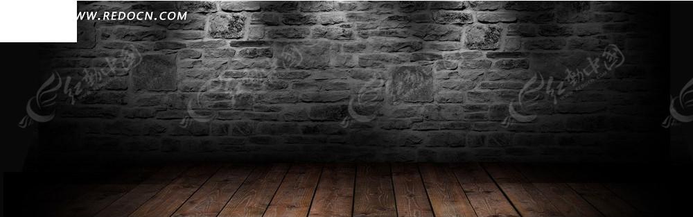 石墙和木地板淘宝店招背景jpg素材免费下载_红动网图片