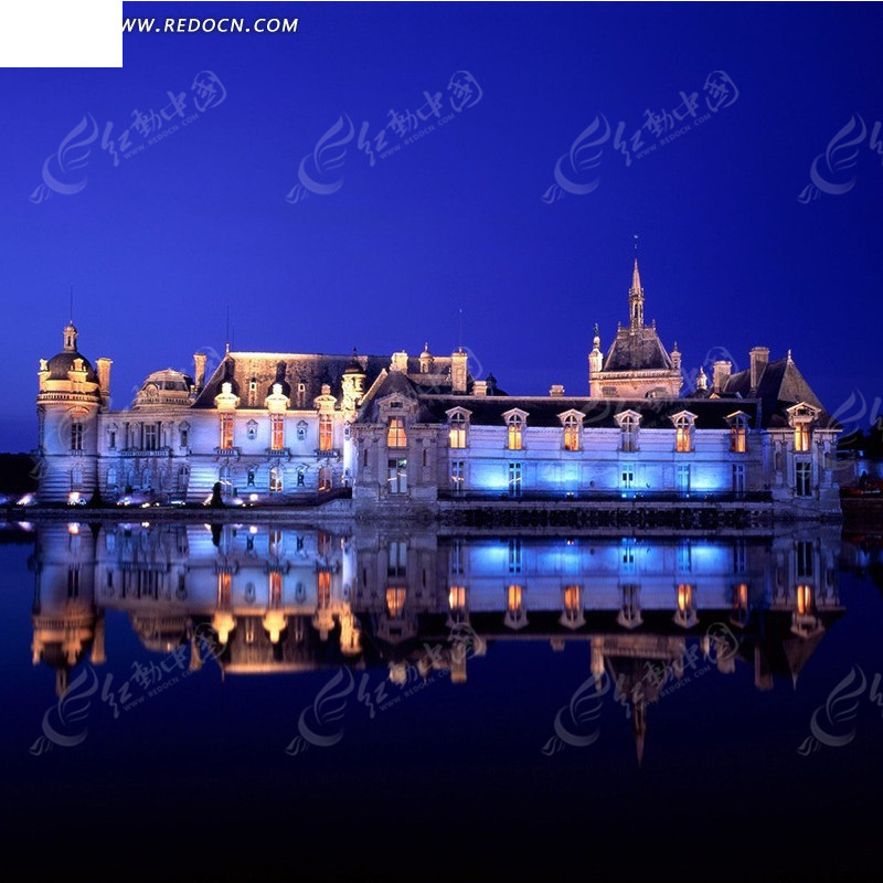 夜色中的水上欧式楼房淘宝主图背景