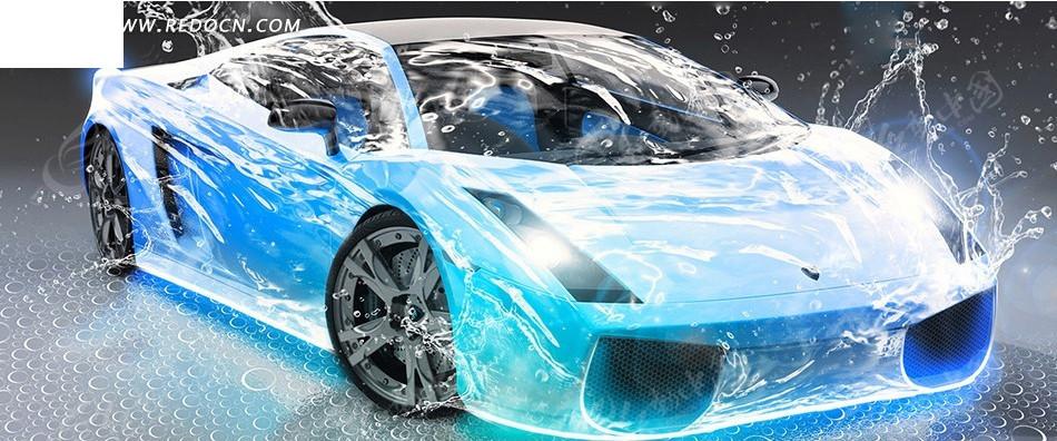 水花和蓝色光影汽车淘宝店招背景
