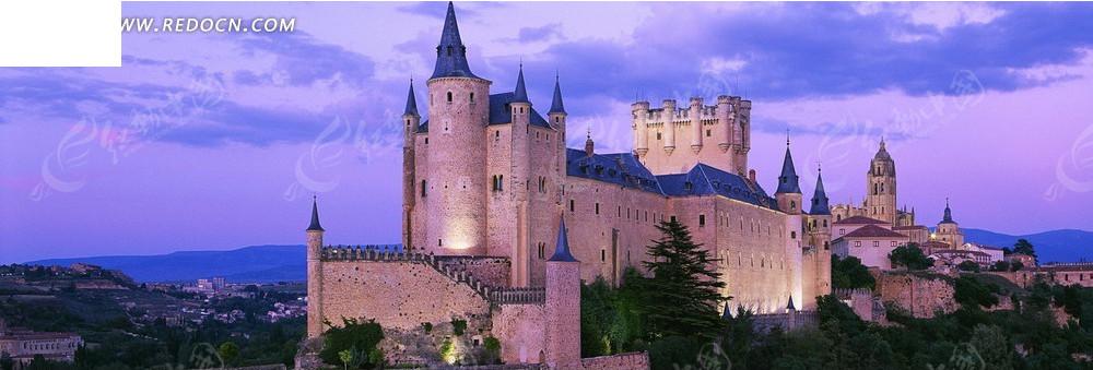 欧式城堡淘宝店招背景图片